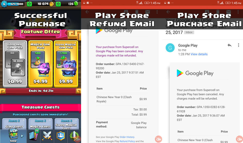 Clash Royale In-App Purchase BUG Fixed Money Refunded